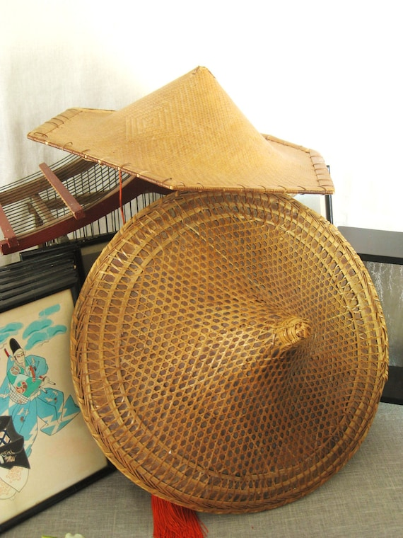 Pair Of Vintage Bamboo Coolie Hats Asian Persuasion