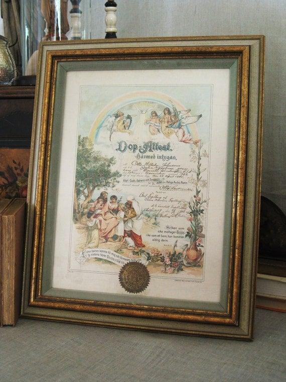 50% OFF Select - Antique 1904 Swedish Baptismal Certificate- Vintage Art Gallery