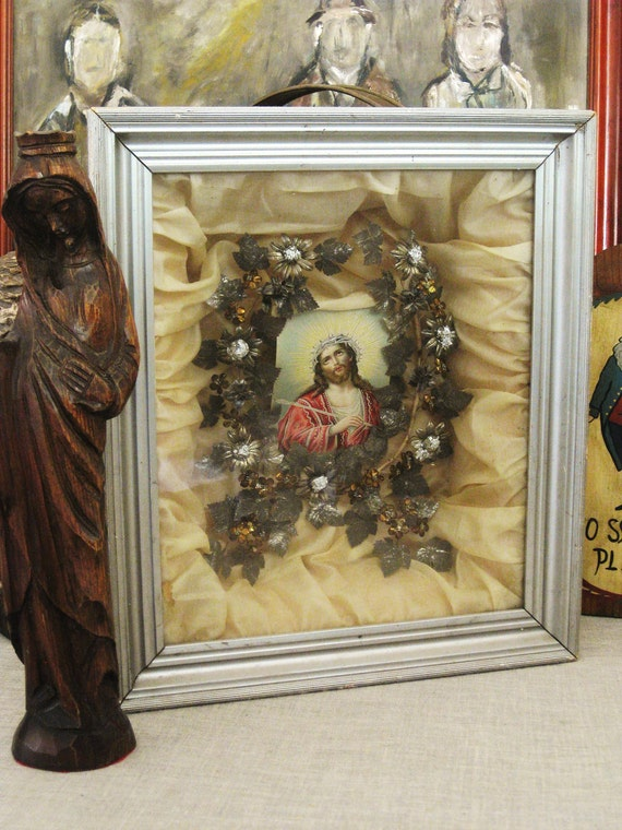 Religious Art , Mourning Box , Antique , Religious , Shadow Box , Devotional , Religious Folk Art , Religion , Jesus Art  , Altar