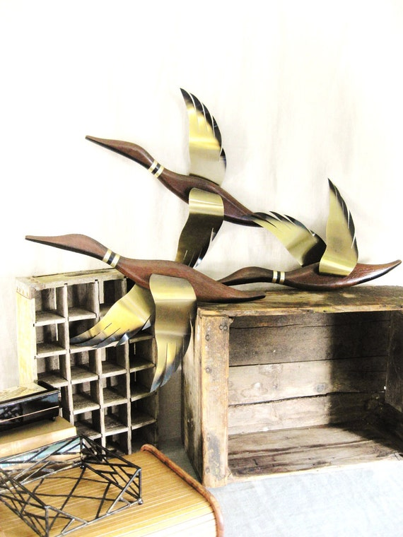 30% OFF Entire Shop Summerprep - Vintage Wall Trio of Wood and Brass Ducks- Ranch Cabin