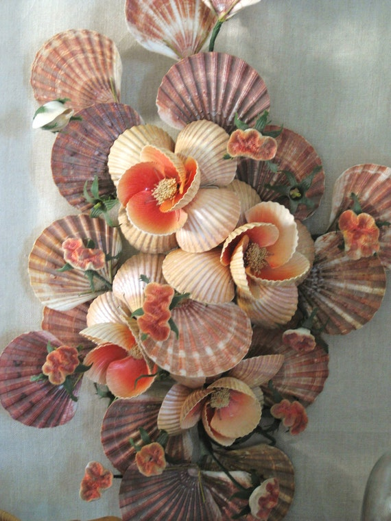30% Off ENTIRE Shop - Vintage Sea Shell Wall Bouquet - Cottage Life