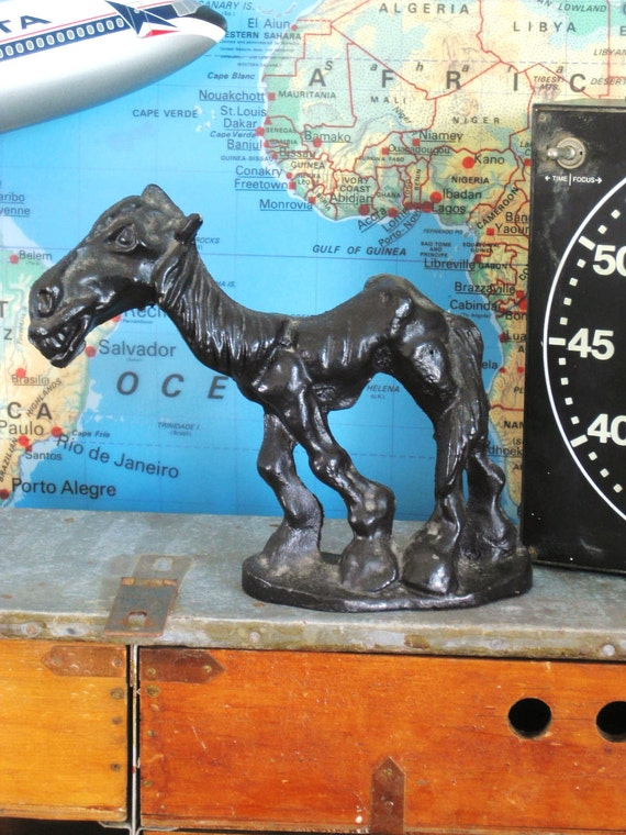 Antique Cast Iron Angry Mule- Ranch Cabin
