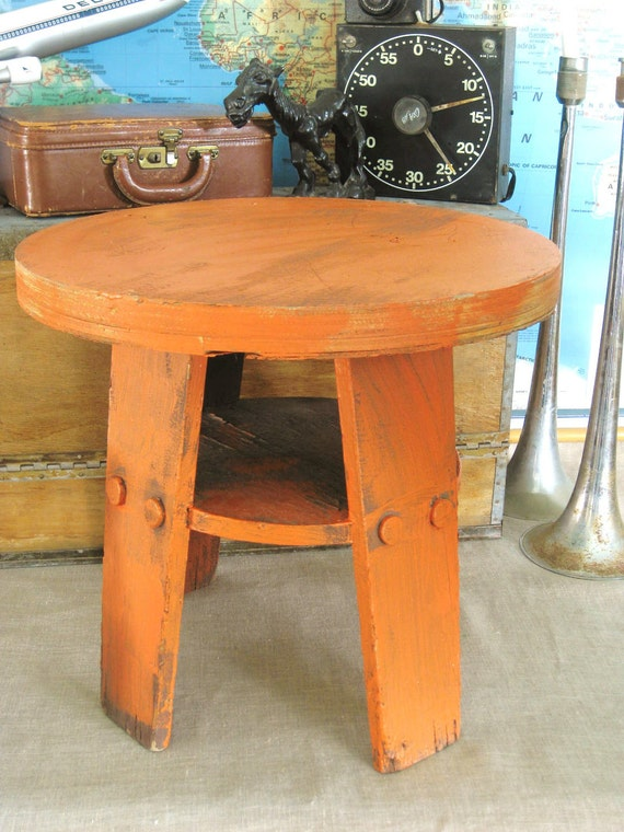 Vintage Primitive Wooden Cabin Table- Ranch Cabin