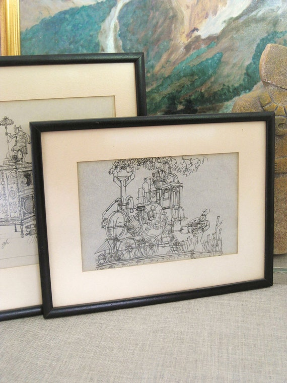 Vintage Pen and Ink Drawing Train - Vintage Art Gallery