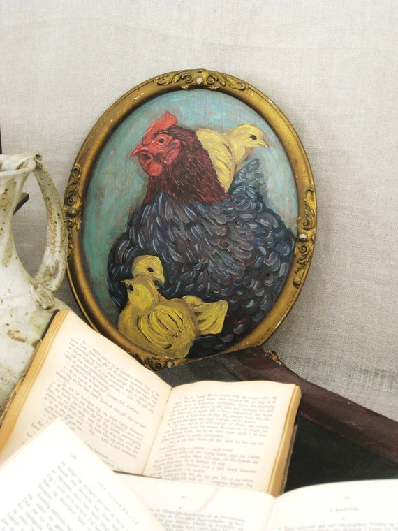 RESERVED - Vintage Hen and Chick Original Painting - Vintage Art Gallery