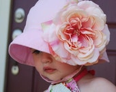 LAST ONE Available - Light Pink Sun Hat UPF 50 with REMOVABLE Flower...Summertime bonnet for TODDLERS...FOUR UPGRADE FLOWER OPTIONS...LIGHT PINKS Rose, PURPLE Rose, YELLOW Rose, or  DEEP RED Rose