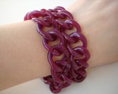 Reserved for velagirl - Continuous chain bracelets in purple Italian resin