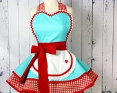 ON SALE ~ Dotties Diner Retro 50s Diner Waitress Apron Aqua and Red  Gingham Womens
