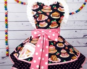 Pink Cake Apron with Little Daisies and an Ice Cream Cone - in stock