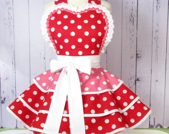 Cherry Bubblegum Apron for Pinup Girls Red and Pink Womens Apron