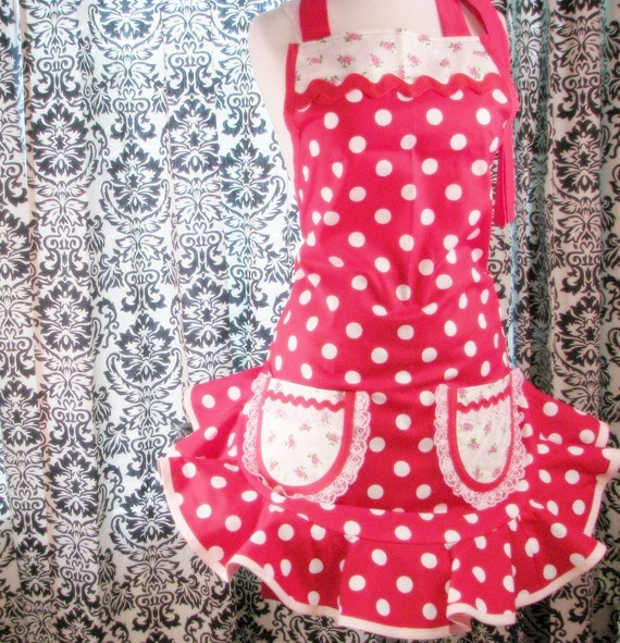 Retro 50s Pinup Girl Apron Red and White Dots and Baby Pink Flowers
