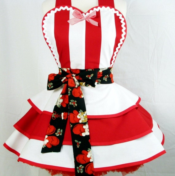 Candy Cane Apron with Kittens in Mittens Womens Holiday Apron Made to Order
