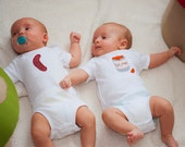Twins Frank and Beans TWIN Set of bodysuits, Great Shower gift for TWINS or siblings