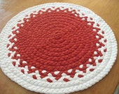 "20"" red and white rug made from recycled t shirts"