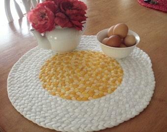 Free range egg rug made from USA Organic cotton