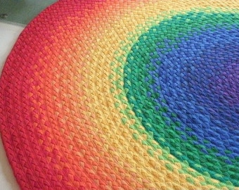 "SPRING SALE 15% OFF 48""  Rainbow Rug made from braided recycled t shirt"