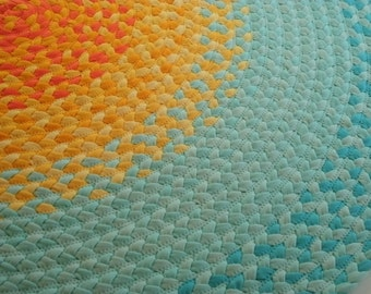 misty mint and golden yellow Sun Rug created from New fabric and some recycled t shirts
