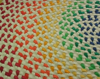 now 20% OFF select a size....Rainbow Rug made from braided new and recycled t shirts
