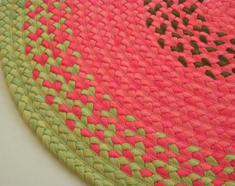 """60"""" watermelon rug created from cotton and recycled t shirts"""