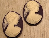 whole shop now with prices 50% off - 2 pcs Vintage Resin Deep Purple and Ivory Lady Cameo - 22 x 30mm