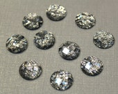 10 pcs - Bling Bling Shining Faceted Silver Resin Cabochon, 12mm cab