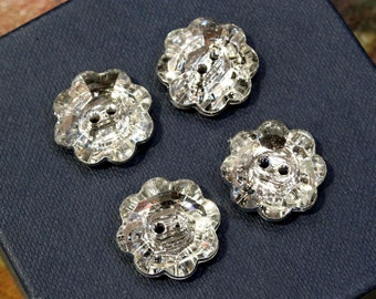 whole shop now with prices 50% off - 4 pcs - Blink Blink Flower Shaped Buttons with Crystal Shine - Dazzling - 18mm