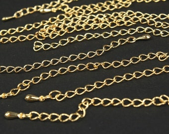 5 pcs gold plated extension chain - 85mm long