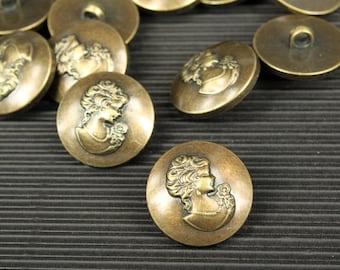 whole shop now with prices 50% off - 10 pcs - Lady Portrait Round Button - Antique Bronze Polyester - 25.5mm