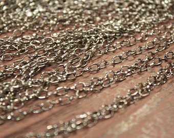 whole shop now with prices 50% off - 9 Feet - Gun Metal Plated Cross Cable Chain - 3.5 x 5.1mm - CHN0732
