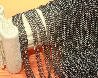 whole shop now with prices 50% off - 30 Feet - Gun Metal Plated Curb Chain - Soldered Links - 2.5 x 3.0mm - CHN0740