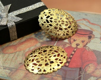 whole shop now with prices 50% off - 10 pcs - Golden Raw Brass Filigree Connectors - Cameo Setting - 42 x 34mm