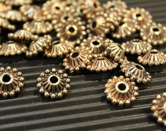 whole shop now with prices 50% off - 100 pcs - Antique Brass - Round Flat Patterned Crown Disc Spacer Beads - 11mm x 5mm