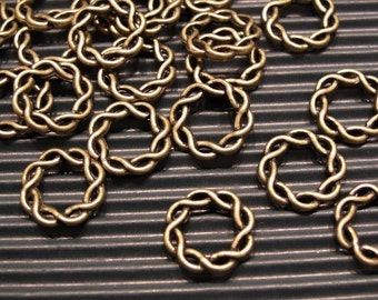 whole shop now with prices 50% off - 6 pcs antique bronze twisted fancy connectors - 15mm