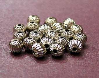 whole shop now with prices 50% off - 20 pcs Silver Metallic Beads - 5mm Spacer Beads