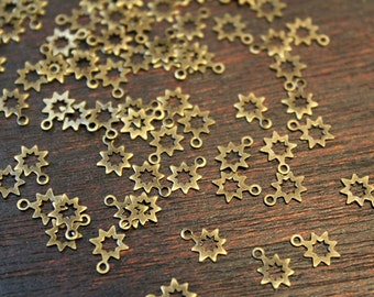 whole shop now with prices 50% off - 80 pcs - antique brass - cute little star charms findings - tiny 6.5 x 8mm