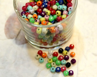 whole shop now with prices 50% off - 200 pcs - Round Glittering Multicolour Plastic Beads - 4mm