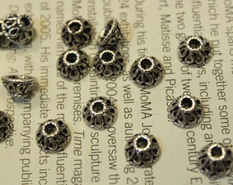 whole shop now with prices 50% off - 10 pcs Antique Silver Filigree Flower Bead Caps - 8mm