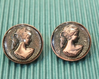 whole shop now with prices 50% off - 2 pcs - Lady Portrait Cameo Round Button - Antique Bronze Polyester - 25mm