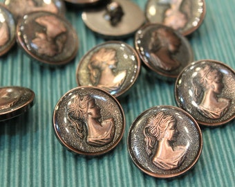 whole shop now with prices 50% off - 20 pcs - Lady Portrait Cameo Round Button - Antique Bronze Polyester - 25mm