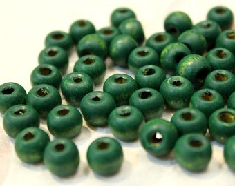 whole shop now with prices 50% off - 20 pcs - Dark Green Wooden Donut Beads - 10mm