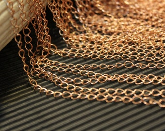 whole shop now with prices 50% off - 9 Feet - Antique Raw Red Brass Curb Chain - Soldered Links - 3.5mm x 5mm - CHN0747