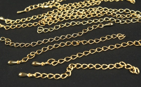 whole shop now with prices 50% off - 5 pcs gold plated extension chain - 85mm long