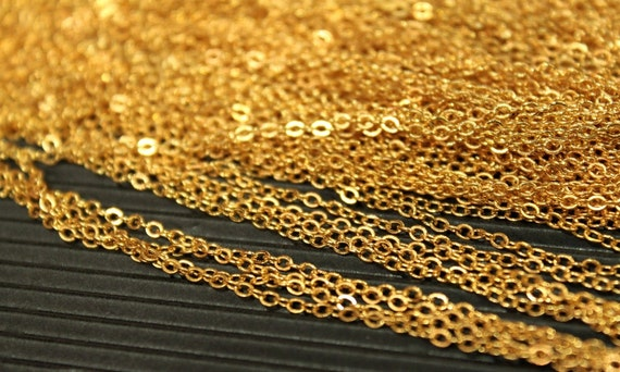 15 Feet - Gold Plated Cable Chain - Small Soldered Links - 1.9 x 2mm - CHN0735
