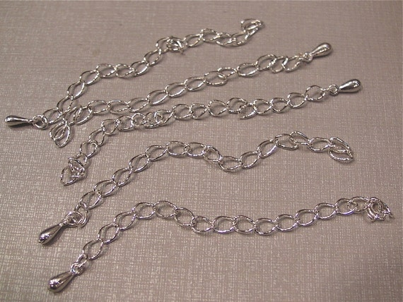 50 pcs silver plated extension chain, 85mm long