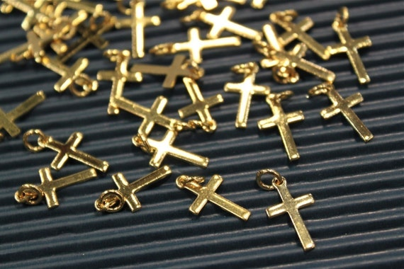 30 pcs - gold plated cross charms findings - 9mm x 16mm