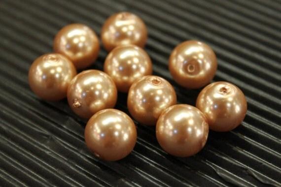 30 pcs - bronze glass pearl round beads - 12mm