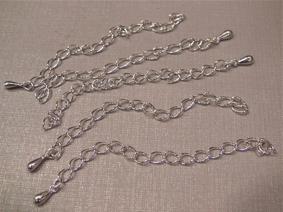 5 pcs silver plated extension chain, 85mm long