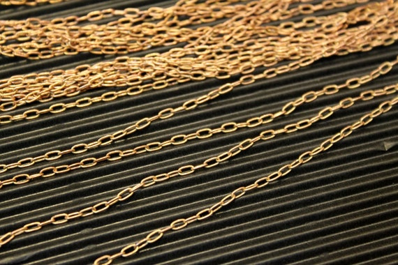 9 feet - Antique Raw Red Brass Drawn Cable Chain  - 2 x 4mm - small soldered links - CHN0746