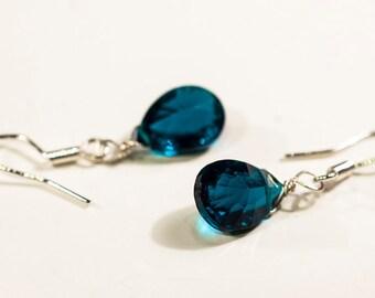 Teal Bridesmaids Earrings -Wedding Earrings- Fine Jewelry - Quartz Earrings - Gemstone Drop Earrings - Sterling Silver Earrings