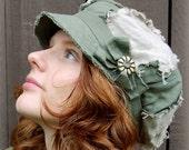 Green Daisy Newsboy Hat